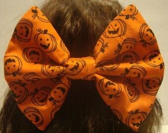 Halloween Fabric Hair Bow with Smiling Pumpkins Jack O'Lanterns Big