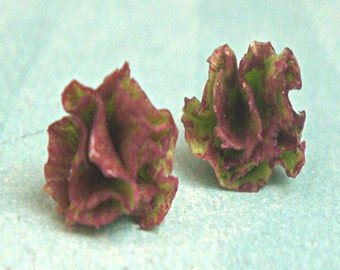lettuce earrings - miniature food jewelry, vegetable earrings
