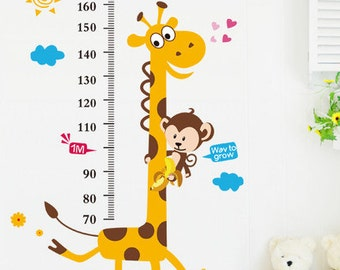 Giraffe/monkey growth chart wall decal growth chart wall sticker,height chart decal,Giraffe decal,kids growth chart Nursery Wall Art