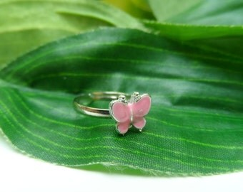 Childs adjustable Pink Butterfly ring, kids rings, adjustable rings, girls birthday gifts, childrens rings, little girls rings