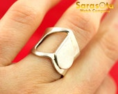 Sterling Silver 925 Heart Basel Half Empty Women's Ring Size 6
