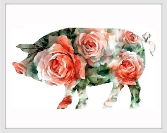 Pig Art Print, Pig Decor, Pig Watercolor Art, Pig, Pig Wall Decor