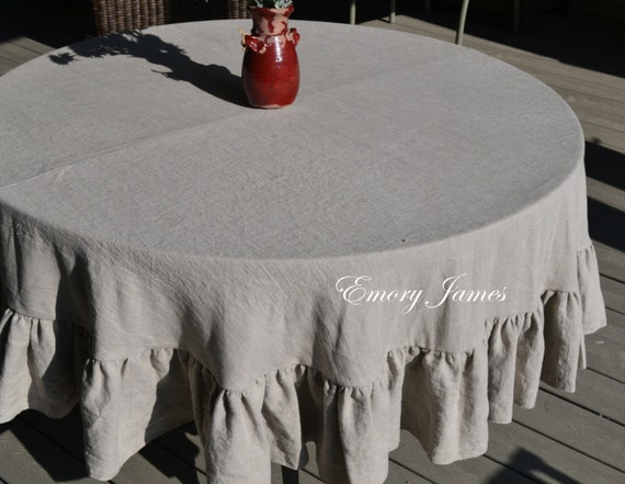75 inch 190 cm linen round ruffled tablecloth natural linen. Black Bedroom Furniture Sets. Home Design Ideas
