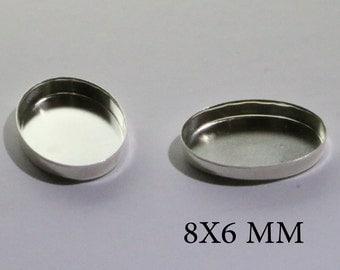 Sterling Silver Oval Bezel Cups 8x6