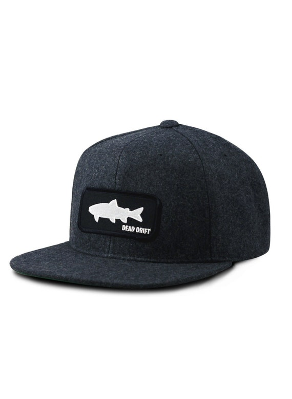 Fly fishing hat shadow wool flat bill snapback trout fly for Flat bill fishing hats