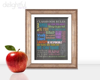 Instant Download Classroom Rules Poster 8.5x11 inches / Teacher Gift, Classroom Decor, Chalkboard Typography - Digital File