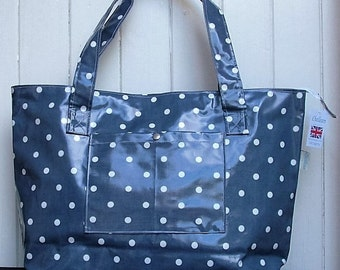 Navy & White Dotty Large Zipped Oilcloth Bag