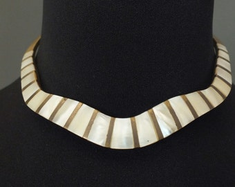 80's Necklace Choker Abalone silver Metal collar