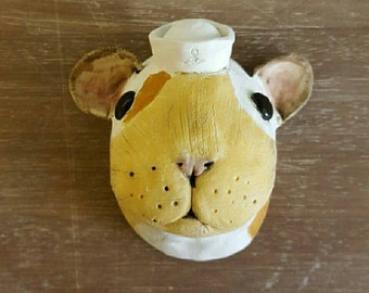 Sailor Hamster Trophy Head- ceramic hamster wall mounted head