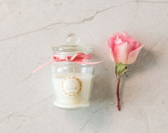 French Temple soy candle wedding favour gift Danube Jar tied with ribbon. Completely custom sticker.