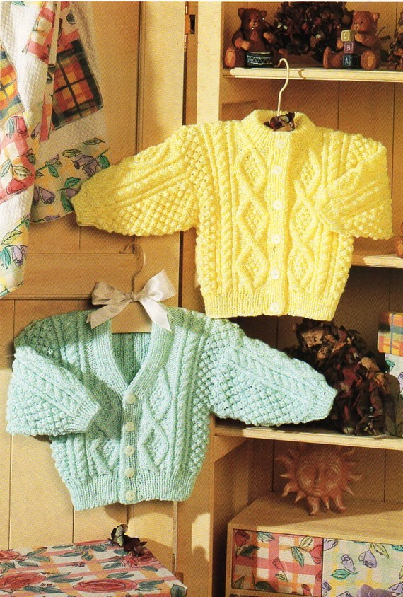 Childrens Knitting Patterns To Download : baby childrens aran cardigans baby aran knitting pattern PDF