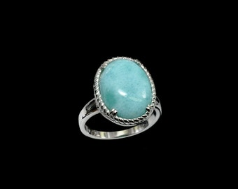 Larimar 10ct 12X16mm Oval Vintage Style Ring .925 Sterling Silver Sizes 7