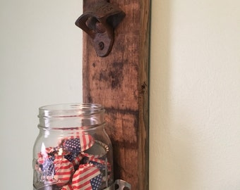 Bourbon Barrel Wall Mount Bottle Opener w/ Mason Jar Cap Catcher, Gift for him, dad, man cave, Fathers Day