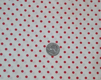 Vintage Crisp White with Red Polka Dot Fabric 2 Yards, Perfect for Summer Tops or Child's Dress- Classic!