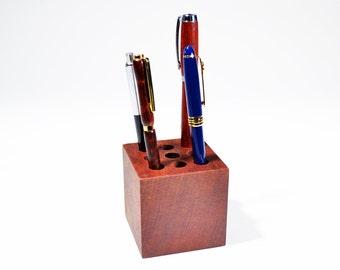 "Handmade Solid Honduras Mahogany Wood Pen Holder 3"" x 3"" x 3"" face grain ~ FREE SHIPPING"