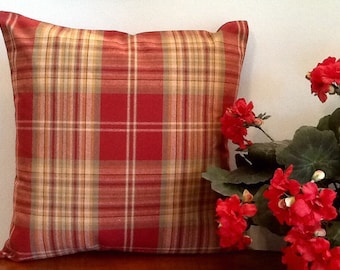 Plaid throw pillow. Rustic pillow. Cabin, lodge, french country pillow. Country throw pillow. Rust, Persimmon. Decorative pillow cover.