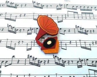Music Jewelry, Music Gift for Her, Music Brooch, Gift for Musician, Music Jewellery, Music Lover Gift, Vinyl Record Gift, Music Gifts