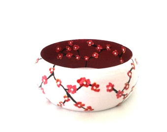 Cherry Blossom Bangle, Wooden Bangle, Cherry Blossom Jewelry, Chunky Bangle, Hand Painted Bangle, Gift For Her, Girlfriend Gift