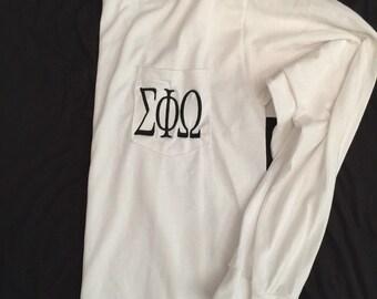 Monogram Greek Letter Long Sleeve Pocket Tee/ Monogram T-Shirt/ Monogrammed Greek Long Sleeve Pocket Shirt/ Monogram Sorority Shirt