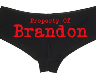 PERSONALIZED PROPERTY OF submissive owned slave boy short panty Panties boyshort sexy funny Rear Center rude slutty slut collar collared