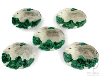 Set of Five Haidon Group Oval Bunny Rabbit with Leaves Ceramic Dishes 1987.