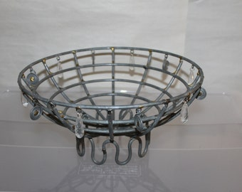 Vintage Bowl, Pedestal Style, Iron or Steel Frame, Dangling Items as Seen in Pictures, Centerpiece, Holds Fruit fake & Real, Home Decoration