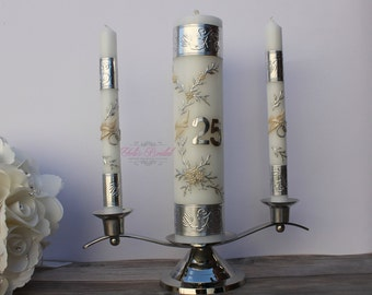 25th Anniversary Unity Candle Set with or without the Candle Holder