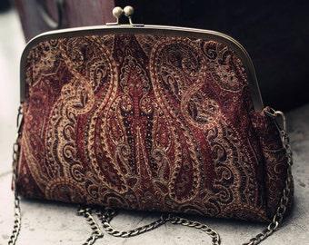 Women stylish chain messenger shoulder bag crossbody brocade bag BonLife