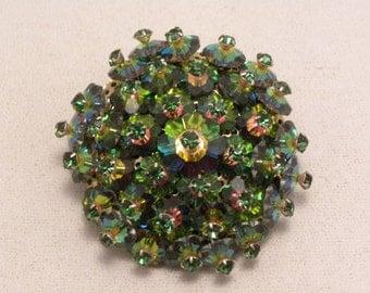 Vintage Watermelon Margarita & Green Rhinestone Glass Flower Cluster Brooch
