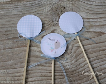 Tag with walking stick-baptism-Tag Tags wedding favor-little bird