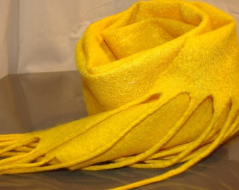 Yellow wool and silk hand felted scarf