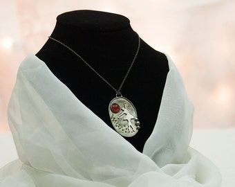 Lliira - handcrafted fine and sterling silver necklace with dancing balerina and cabochon of red carneol