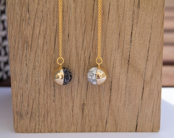 Gold plated modern marble effect necklace