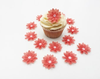 14 Edible Coral 3D Wafer Flowers Cupcake Toppers Precut