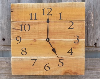 horloge de bois r cup r palette bois horloge orange. Black Bedroom Furniture Sets. Home Design Ideas