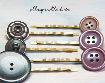 Purple Button Bobby Pins - Bobby Pin Set - Purple Bobby Pins