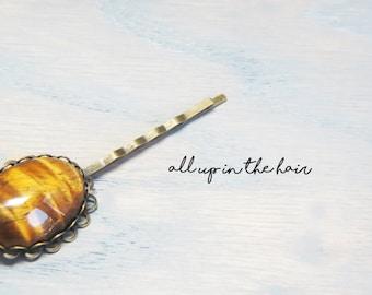 Gemstone Bobby Pins - Tigers Eye Bobby Pins - Tiger Eye Hair Pins - Gemstone Hair Pins