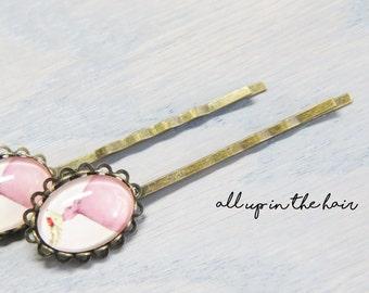 Deer Bobby Pins - Pink Bobby Pins - Pink Hair Pins - Deer Hair Pins - Animal Bobby Pins- Animal Hair Pins - Whimsy Bobby Pins