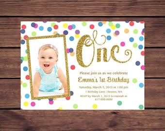 Gold St Birthday Etsy - First birthday invitations girl online