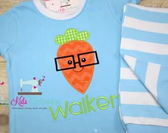 Easter pajamas, carrot pajamas, girls pajamas, boy pajamas, girls pj, boy pj, spring pj, spring pajama, pj, appliqué, embroidery