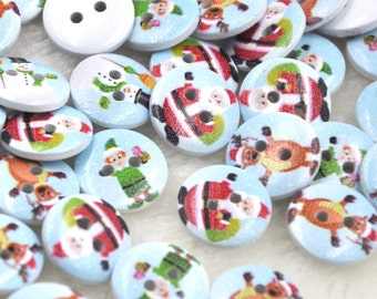 100pcs Mix Merry Christmas Wood Buttons 15mm Sewing Craft Lots WB233