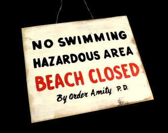 Handmade JAWS Amity Beach Closed Distressed Wooden Sign Prop