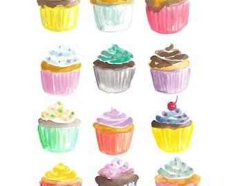 Cupcakes Watercolor Print (8.5 x 11)