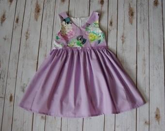 OOAK 6 Girls Dress / RTS 6 Dress / Girls Floral Dress / Girls Lavender Dress