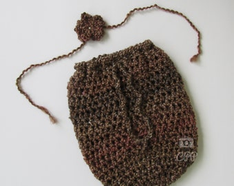 Newborn Swaddle Sack/snuggle bag Cocoon pouch pod for photography--Brown fuzzy yarn--Free Shipping