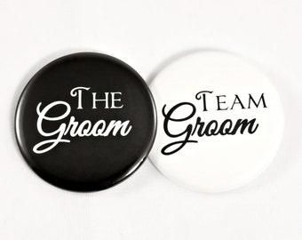 "Bachelor Party Button 2.25"". The Groom Button. Team Groom Button. Wedding. Wedding Party. Bachelor Party Button. Wedding Pin."