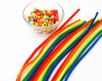 Rainbow Pipe Cleaner Activity, Kid's Sorting Game, Montessori Learning