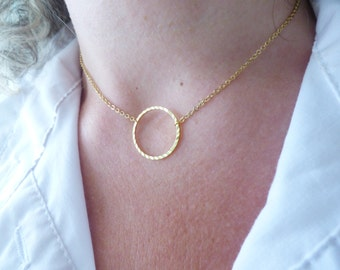 Gold Circle Necklace, Dainty Necklace, Delicate Everyday Jewelry, Simple Necklace, Minimal Necklace, Thin Modern Necklace, Choker Necklace