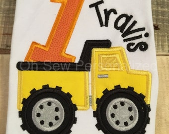 Construction Birthday Shirt - Dump Truck Birthday Shirt - First Birthday Shirt for boys - first birthday dump truck shirt - first birthday