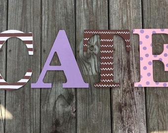 Hand Painted Wooden Letter Name Wall Hanging, painted letters, name decor, wood letters, wall decor, nursery decor, kid's name